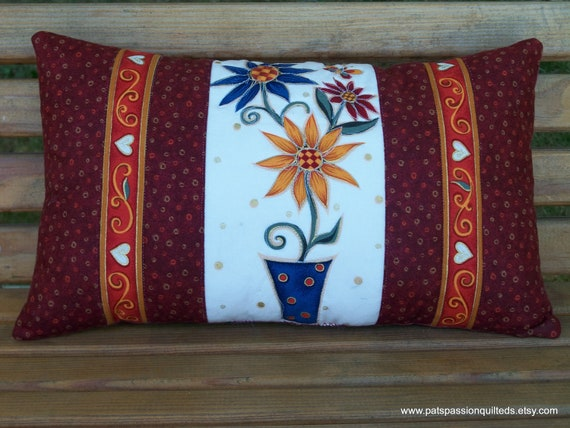 "Potted Daisies Folk Art Quilted Pillow Accent or Decor   8"" X 14"""