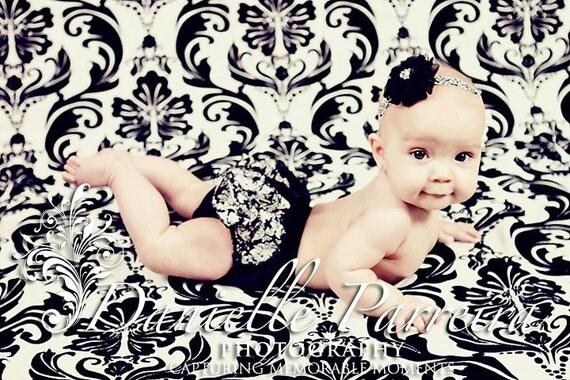 Black White Damask ruffled baby bloomers, baby headband great for PhoTo ShOoT