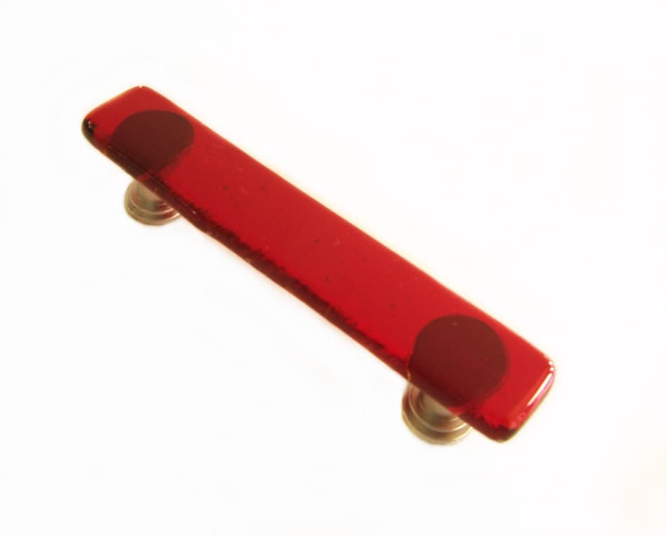 red glass cabinet handle or drawer pull hardware custom