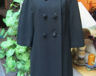 Vintage black ribbed coat, midcentury double breasted black knee length coat, sixties style ponte knit coat size M or L