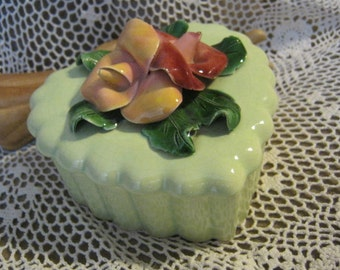Heart shaped ceramic trinket box with flower top and small heart tray by Brahm USA