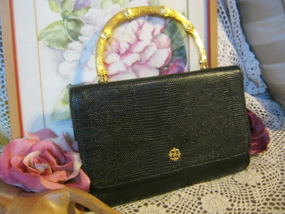 Beautiful black lizard textured small bag with goldtone bamboo look handle by Verdi