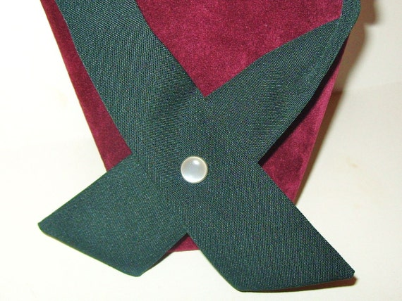 Vintage Womens Necktie Samuel Broome Criss Cross Crossover Uniform Tie GREEN