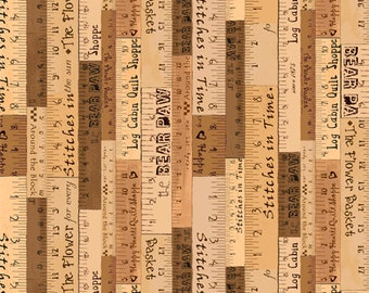 Price Reduced!  A Quilter's Home Rulers Brown Tonal (59005-222) - BTY - South Seas