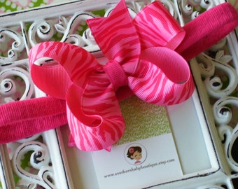 New Item----Boutique Baby Girl Toddler Hair bow Dainty Headband-----MISS HOT ZEBRA---