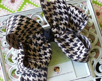 New Item----Big Boutique Hair Bow Clip-----SHERLOCK Houndstooth----