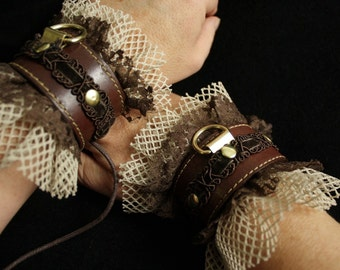 Steampunk Slave Cuffs in Brass, Brown Leather, Lace & Fishnet Bracelets -costume or bedroom, Pirate, ren faire, discrete BDSM bondage fetish