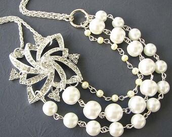 Bridal Jewelry Pearl Necklace Wedding Jewelry Rhinestone Wedding Necklace Multi Strand Bridesmaid Gift Vintage Style