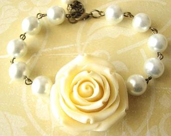Beaded Bracelet Charm Bracelet Holiday Gift Bridesmaid Jewelry Flower Bracelet Ivory Bracelet Rose Jewelry