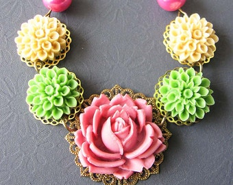 Flower Necklace Statement Necklace Rose Jewelry Pink Necklace Bridesmaid Gift