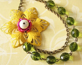 Statement Necklace Green Jewelry Flower Necklace Bridesmaid Jewelry Yellow Bib Necklace Crystal Necklace Gift For Her