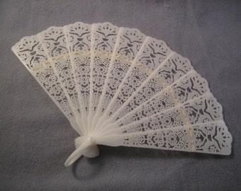 Vintage White Plastic Fan mid size new vintage item