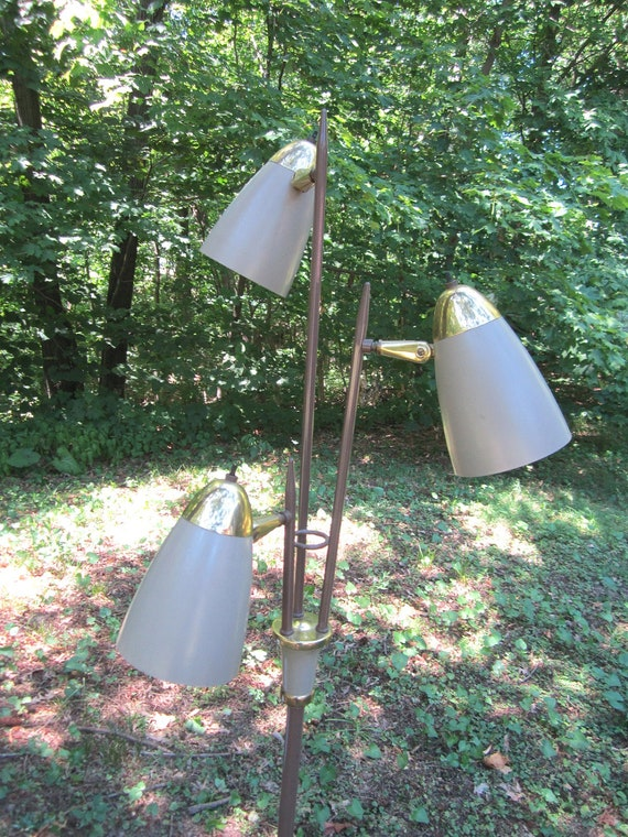 Reserved for Erika...Vintage Mid Century Modern Taupe Metal Floor Lamp with Three Adjustable Lights