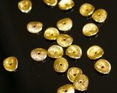 50  - Gold plated brass wavy disk spacer beads, bead cap 9.5mm
