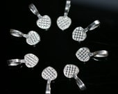 25 - Large heart shape Glue on silver Bails for scrabble or glass tiles Lead free, Nickel Free, Cadmium free