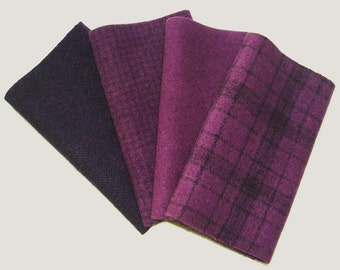 "Hand Dyed Wool Felt, PLUM, Four 6.5"" x 16"" pieces in Dusky Red Violet, Perfect for Rug Hooking, Applique and Crafts"