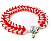 Red and White Beaded Bracelet, Bead Woven Bracelet, White and Red Bracelet, Hand Beaded Bracelet, Beaded Bracelet, Red Crystal Bracelet