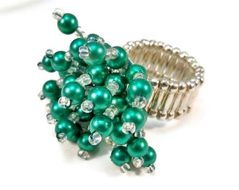 ON SALE Cocktail Statement Ring Stretch Band Bright Green Flower