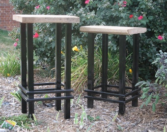 """YOUR Custom Reclaimed Rustic and Recycled Oak Barn Wood and Metal 18""""- 36"""" bar stools with FREE SHIPPING - REBSM173"""