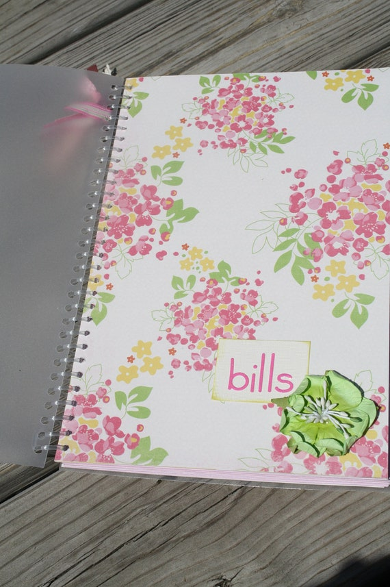 Bill Organizer - Pink and Green Floral with Success Quotes