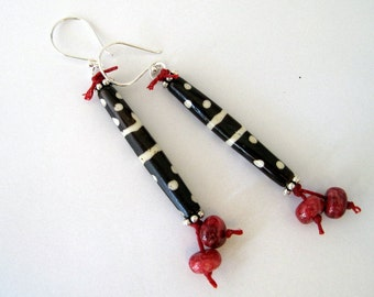 Wood and Jasper Tribal Earrings