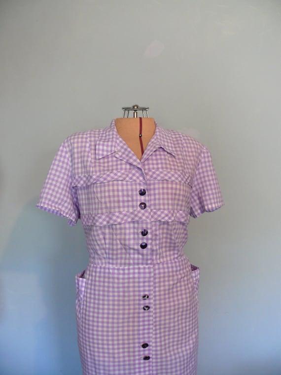 vintage 1950s Dress  // Lavender Gingham // Plus size