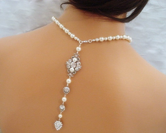 Bridal backdrop necklace wedding pearl necklace back drop for Back necklace for wedding dress