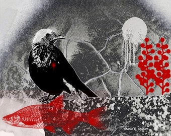 Grackle Art, Southwestern Digital Collage, Crow Blackbird Raven, Woodland Animal, Black Red, Home Decor, Wall Hanging, 8 x 10, Giclee Print