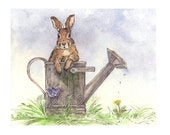 Rabbit in Watering Can Blank Notecards, Set of 3