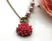 Pink Flower Necklace, with Powder Matte Pink Pearls Front Toggle Necklace . Dreamy and Romantic. Bridesmaid Gift Ideas. Wedding Inspired.