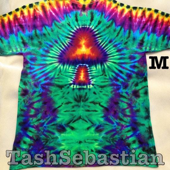 Mushroom Tie Dye Adult Medium Double sided tshirt