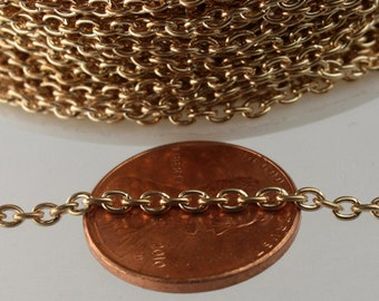 NEW New 12 ft spool of Rose Gold Plated Round cable chain - 3.0x2.1mm - Sturdy Unsoldered link