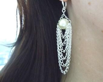 Coco Earrings -- Swarovski Pearl and Silver Drape Chain Earrings