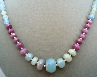 Orion -- One of a Kind -- Natural Multicolor Sapphire Graduated Gemstone necklace