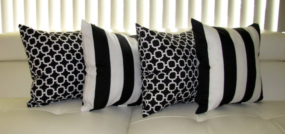 Black & White Outdoor Throw Pillow  - 4 Pack Outdoor Decorative SMC / Mill Creek Throw Pillows Finnigan and  Hockley- Free Shipping