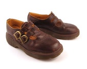 Doc Martens Shoes Mary Janes 1990 Distressed Brown Leather Shoes T strap UK size 5