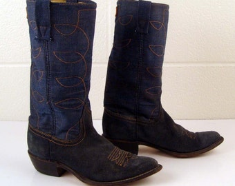 Denim Cowboy Boots Vintage 1970s Denim  Acme Blue Suede Leather Stacked Heel Cowboy Boots Men's 5 1/2