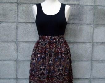 Vintage 1980s Paisley High Waist mini skirt