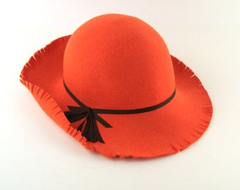 70s Floppy Hat Vintage Mod Orange