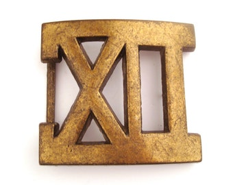 Vintage Belt Buckle 1970s X II  Brass colored metal
