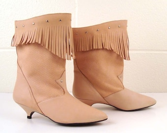 Nude Fringe Boots Vintage 1980s Nude Leather Slouch Fringe Ankle Boots 7 1/2