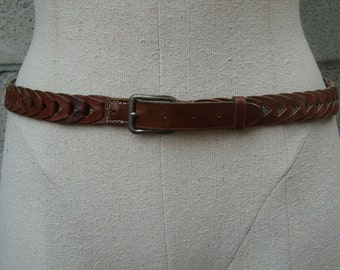 Braided Leather Belt Brown 1960s Woven