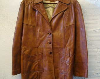 Brown Leather Jacket Vintage 1970s Women's