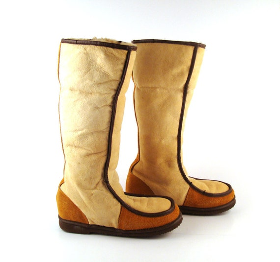 Shearling Boots Vintage 1970s Tan Brown Women's size 6 1/2
