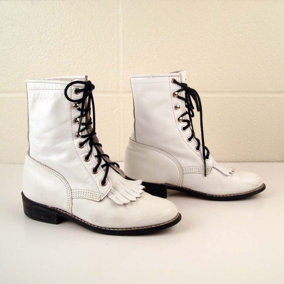 White Roper Boots Vintage 1980s Leather Granny Lace up size 6 1/2