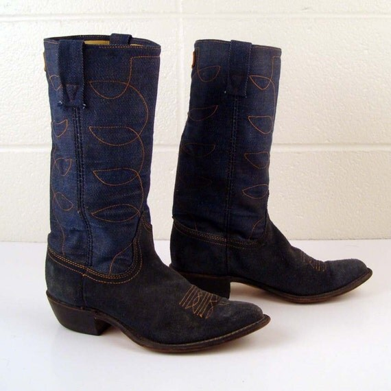 Heel To Toe >> Denim Cowboy Boots Vintage 1970s Denim by purevintageclothing