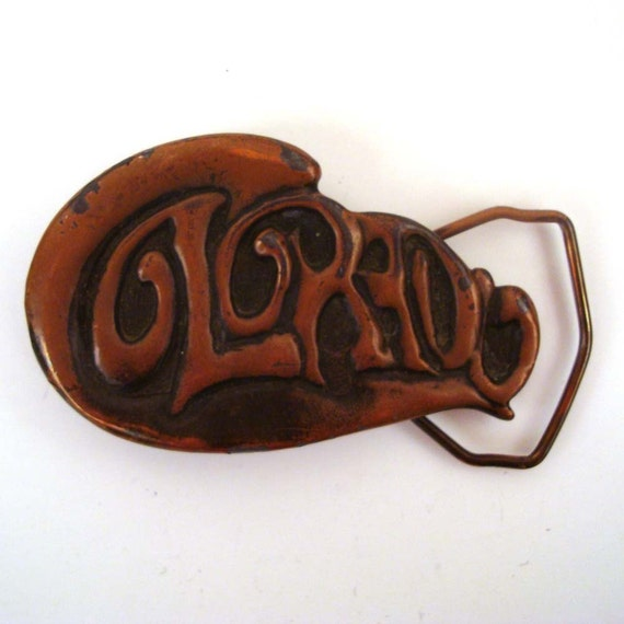 Vintage 1970s Colorado Copper Metal  Belt Buckle