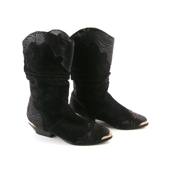 cowboy boots black suede leather vintage 1980s s
