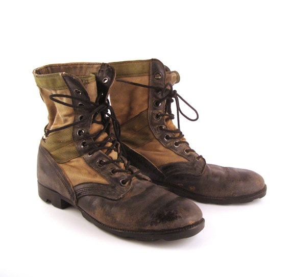 Combat Boots Vintage 1970s Black and Nylon Jump Leather Lace Up Grunge Men's size 9 1/2