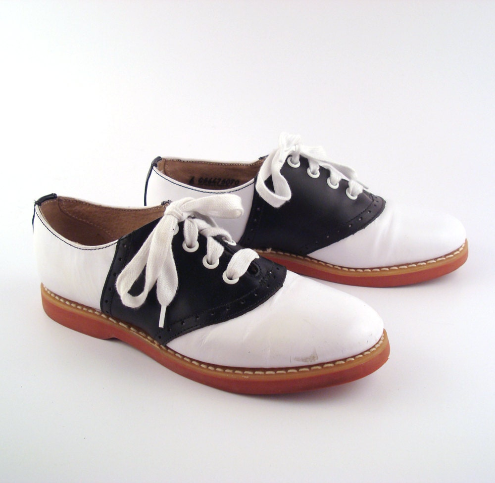 Womens Brown Leather Saddle Shoes